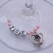 Rose Heart Personalised Wine Glass Charm